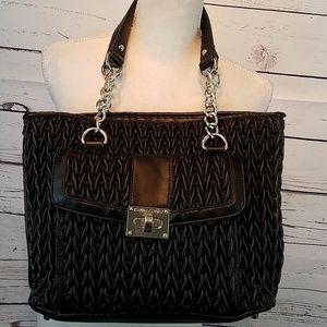 Kate Landry blk vegan leather purse w/chain straps